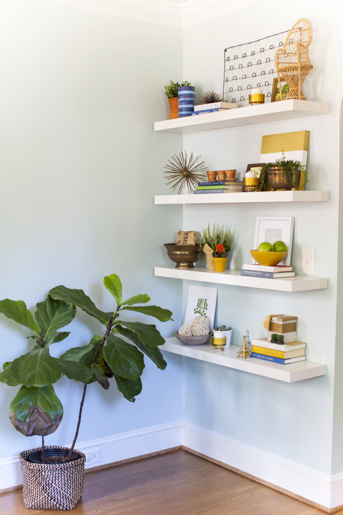 interiors, decor, home tour, makeover, reveal, shelf styling, shelfie