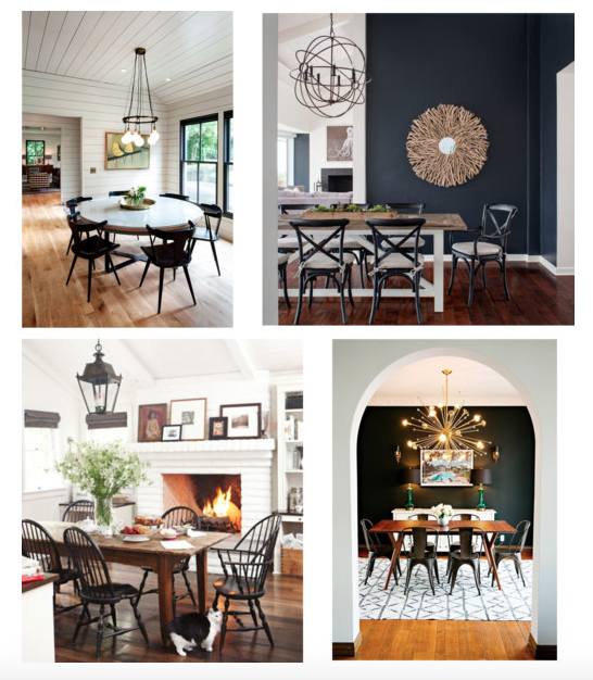 black and wood dining rooms