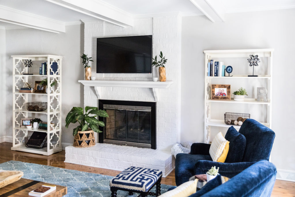 rich cozy white and blue living room